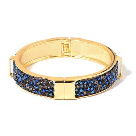 AAA Blue Austrian Crystal Bangle (Size 7.5) in Yellow Gold Tone
