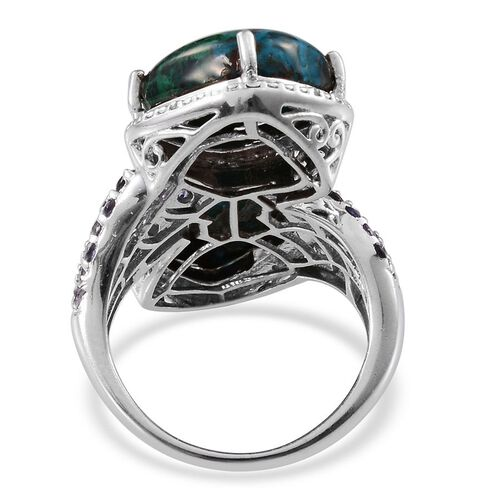 Table Mountain Shadowkite (Cush), Iolite and Diamond Ring in Platinum Overlay Sterling Silver 14.440 Ct.