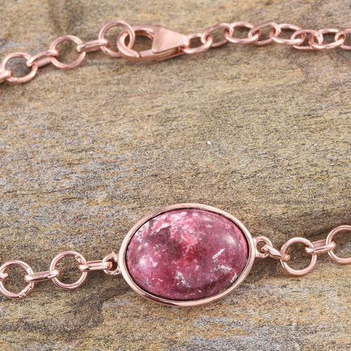 Norwegian Thulite (Ovl) Bracelet (Size 7.5) in Rose Gold Overlay Sterling Silver 11.000 Ct.