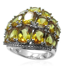 AA Brazilian Citrine (Ovl), White Topaz Ring in Rhodium Plated Sterling Silver 12.002 Ct.