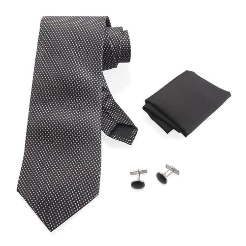 Black Colour Tie, Pocket Square and Cufflinks in a Presentation Box