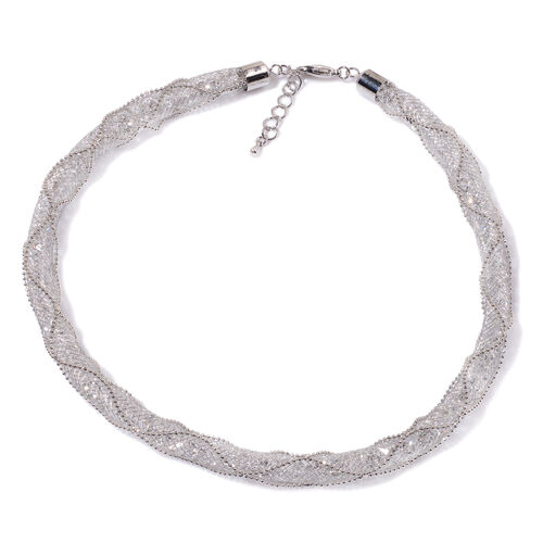 AAA White Austrian Crystal Necklace (Size 19 with Extender) in Silver Tone (392 Pcs)