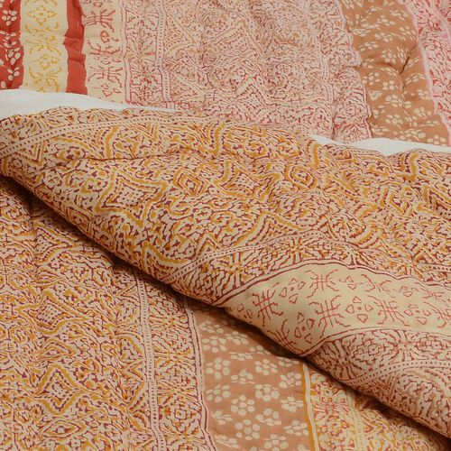 100% Cotton Hand Block Printed Chocolate and Multi Colour Quillow (Size 150x110 Cm)