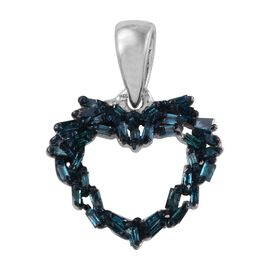 Blue Diamond (Bgt) Heart Pendant in Platinum Overlay Sterling Silver 0.250 Ct.