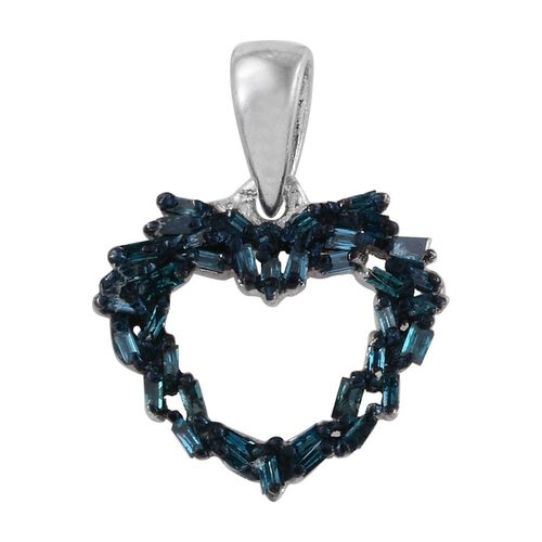 Blue Diamond (Bgt) Heart Pendant in Platinum Overlay Sterling Silver 0.250 Ct.