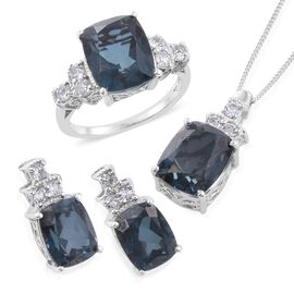 Indicolite Quartz (Cush), White Topaz Ring, Pendant With Chain and Stud Earrings (with Push Back) in Platinum Overlay Sterling Silver 21.500 Ct.