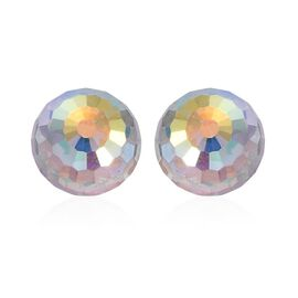 Crystal from Swarovski - Aurore Boreale Crystal Stud Earrings (with Push Back) in Platinum Overlay Sterling Silver 6.750 Ct.