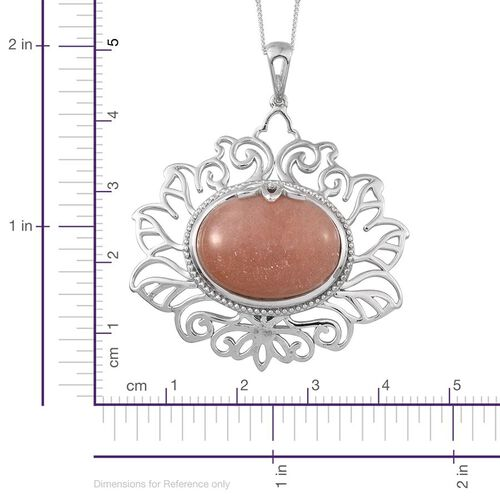 Morogoro Peach Sunstone (Ovl) Pendant With Chain in Platinum Overlay Sterling Silver 16.000 Ct.