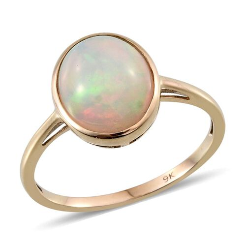 9K Y Gold Ethiopian Welo Opal (Ovl) Solitaire Ring 3.000 Ct.