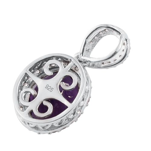 Lusaka Amethyst (Ovl 4.10 Ct), Natural Cambodian Zircon Pendant in Platinum Overlay Sterling Silver 4.750 Ct.
