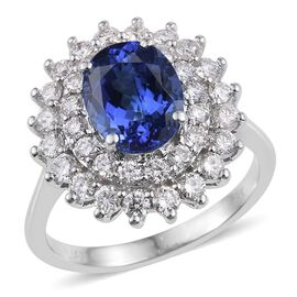 ILIANA 18K White Gold AAA Tanzanite (Ovl 2.10 Ct), Diamond (SI/G-H) Ring 3.250 Ct.