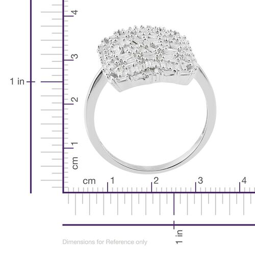 Designer Inspired Fire Cracker Diamond (Bgt) Cluster Ring in Platinum Overlay Sterling Silver 1.000 Ct.