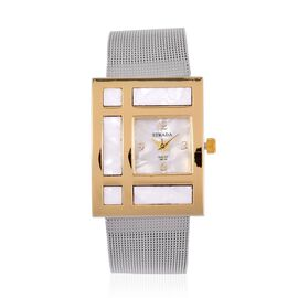 STRADA Japanese Movement Silver Colour Dial Water Resistant Watch in Gold Tone with Stainless Steel Back and Chain Strap