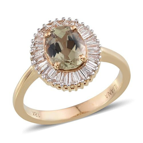 ILIANA 18K Y Gold Turkizite (Ovl 2.00 Ct), Diamond Ring 2.500 Ct.
