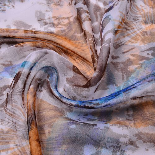 100% Mulberry Silk Blue, White and Multi Colour Printed Scarf (Size 180X50 Cm)