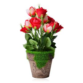 (Option 2) Home Decor - Rose Artificial Potted Plant (Size 30x7 Cm)