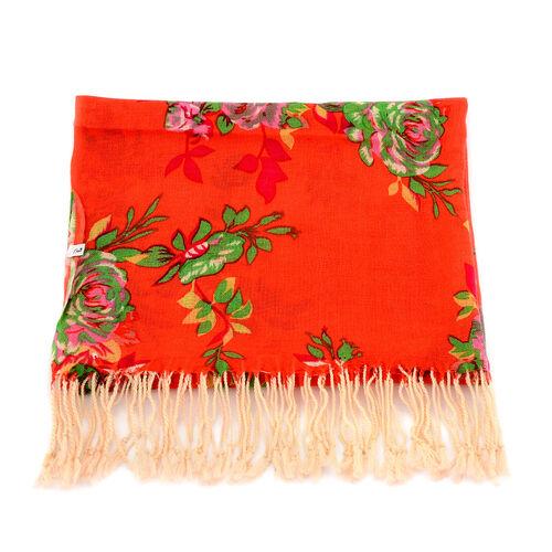 100% Wool Multi Colour Floral Pattern Orange Colour Scarf (Size 170x67 Cm)