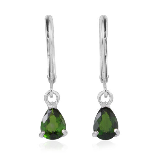 Russian Diopsode (Pear) Lever Back Earrings in Rhodium Plated Sterling Silver 1.500 Ct.