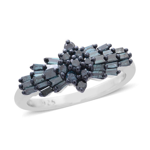 Limited Available- Blue Diamond (Rnd) (I1-I2) Ring in Platinum Overlay Sterling Silver 1.000 Ct.