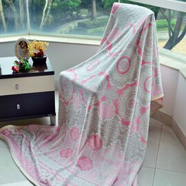 Superfine Double Layer Microfibre White and Pink Colour Blanket with 3D Paisley and Flower Pattern (Size 150x220 Cm)