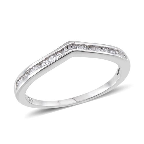 Diamond (Bgt) Wishbone Ring in Platinum Overlay Sterling Silver 0.250 Ct.