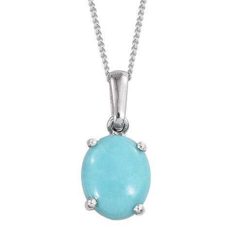 Sonoran Turquoise (Ovl) Solitaire Pendant With Chain in Platinum Overlay Sterling Silver 2.250 Ct.