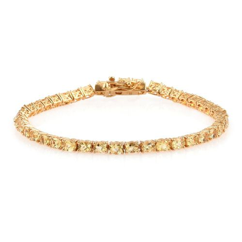 Marialite (Ovl) Tennis Bracelet (Size 7) in 14K Gold Overlay Sterling Silver 7.000 Ct.