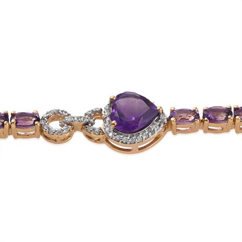 GP Amethyst (Hrt 1.35 Ct), Natural Cambodian Zircon and Kanchanaburi Blue Sapphire Bracelet (Size 7.5) in 14K Gold Overlay Sterling Silver 9.250 Ct.