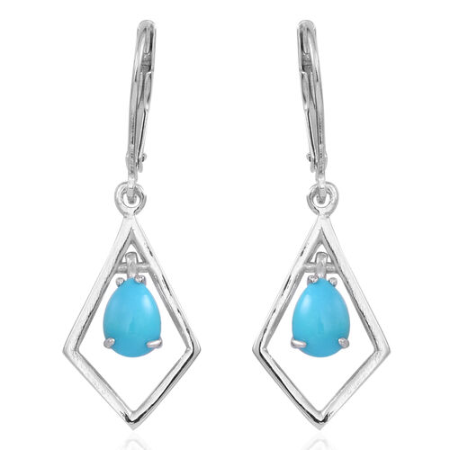Arizona Sleeping Beauty Turquoise (Pear) Lever Back Earrings in Sterling Silver 1.000 Ct.