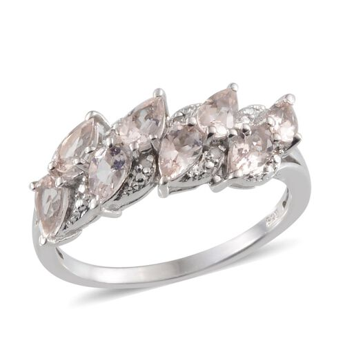 Marropino Morganite (Pear), Diamond Ring in Platinum Overlay Sterling Silver 1.520 Ct.