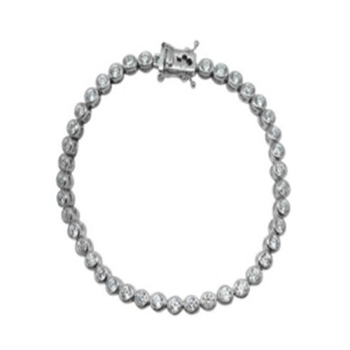 ELANZA AAA Simulated Diamond (Rnd) Bracelet in Rhodium Plated Sterling Silver (Size 8)