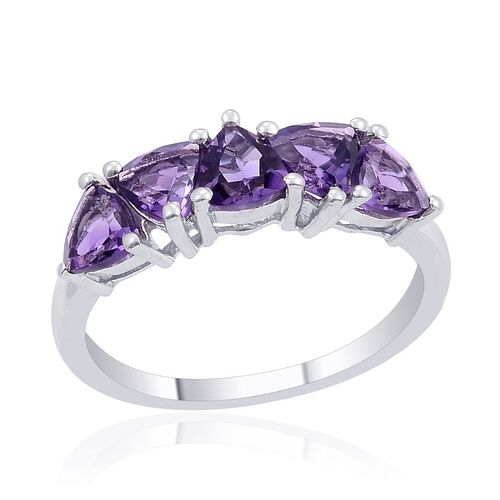 Uruguay Amethyst (Trl) 5 Stone Ring in Platinum Overlay Sterling Silver 2.000 Ct.