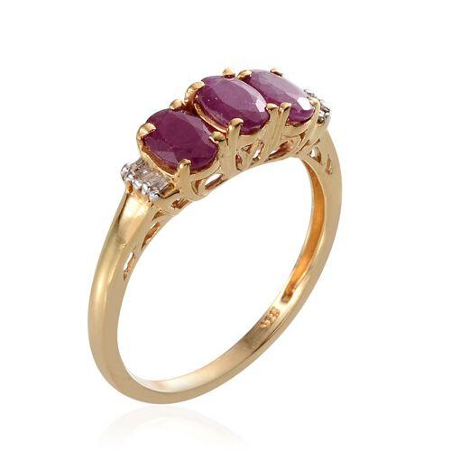 Burmese Ruby (Ovl), Diamond Ring in 14K Gold Overlay Sterling Silver 1.580 Ct.