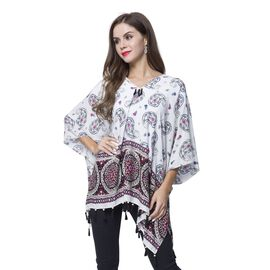 White, Cherry and Multi Colour Bandana Pattern Poncho with Wooden Beads Adorned Tassels (Size 130X95 Cm)