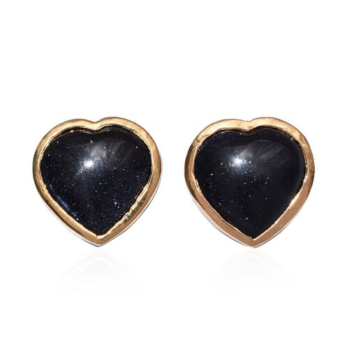 Blue Sandstone (Hrt) Stud Earrings (with Push Back) in 14K Gold Overlay Sterling Silver 7.000 Ct.