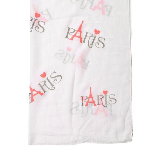 New For Season - Pink Colour Eiffel Tower Pattern White Colour Scarf (Size 180x70 Cm)