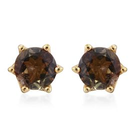 Brazilian Andalusite (Rnd) Stud Earrings (with Push Back) in 14K Gold Overlay Sterling Silver 1.000 Ct.