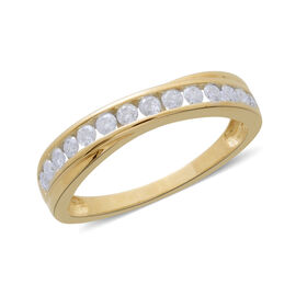 9K Yellow Gold SGL Certified 0.50 Carat Diamond Half Eternity Band Ring (I 3/G-H).