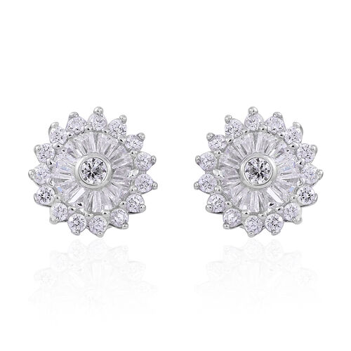 ELANZA AAA Simulated White Diamond (Rnd) Floral Stud Earrings (with Push Back) in Rhodium Plated Sterling Silver