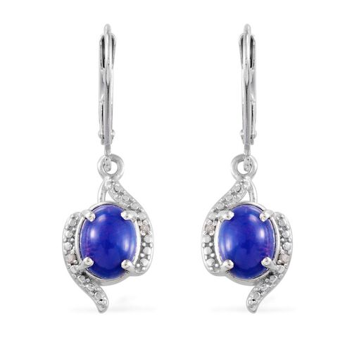 Blue Ethiopian Opal (Ovl), Diamond Earrings in Platinum Overlay Sterling Silver 1.520 Ct.