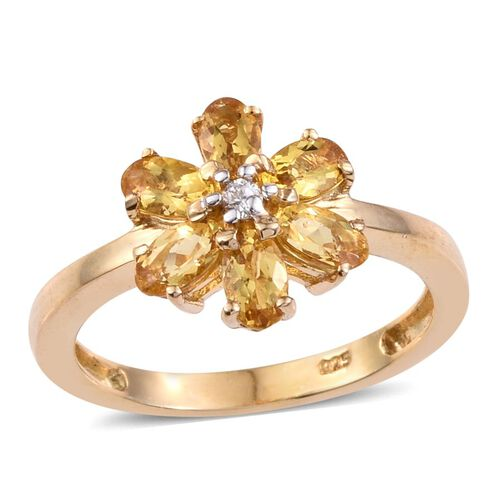Marialite (Ovl), Natural Cambodian Zircon Floral Ring in 14K Gold Overlay Sterling Silver 1.250 Ct.