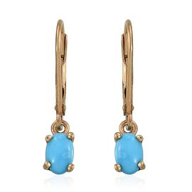 Arizona Sleeping Beauty Turquoise (Ovl) Earrings in 14K Gold Overlay Sterling Silver 0.750 Ct.