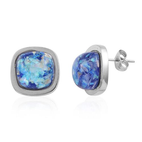 Simulated Blue Opal Stud Earrings (with Push Back) in Stainless Steel