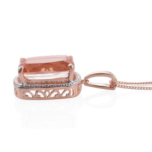 Galileia Blush Pink Quartz (Cush) Solitaire Pendant With Chain in Rose Gold Overlay Sterling Silver 8.000 Ct.