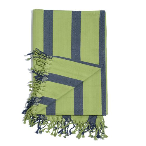 100% Cotton Green and Blue Colour Stripe Pattern Throw with Fringes (Size 240x150 Cm)