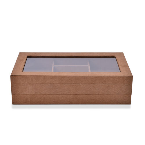 Coffee Colour Velvet 2 Stackes Jewelry Box with Removable 110 Ring Slots Tray (Size 37x21x10 Cm)