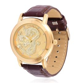STRADA Japanese Movement White Austrian Crystal Studded Dragon Pattern Golden Dial Water Resistant Watch in Yellow Gold Tone with Chocolate Colour Strap