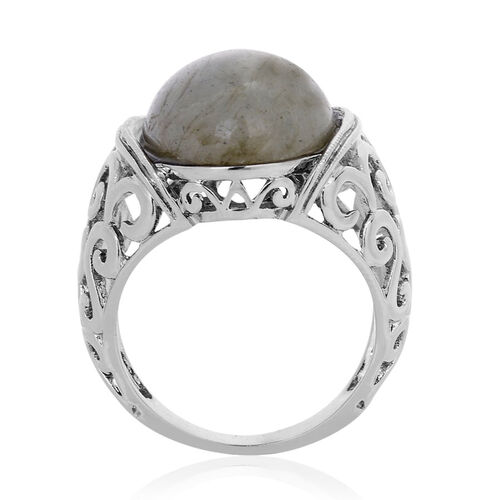 Labradorite (Ovl) Solitaire Ring in ION Plated Silver Bond 10.200 Ct.