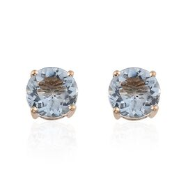 9K Y Gold Espirito Santo Aquamarine (Rnd) Stud Earrings 2.000 Ct.