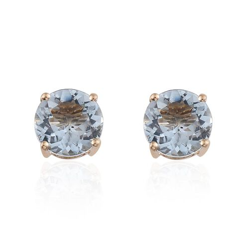 9K Y Gold Espirito Santo Aquamarine (Rnd) Stud Earrings 2.000 Ct.
